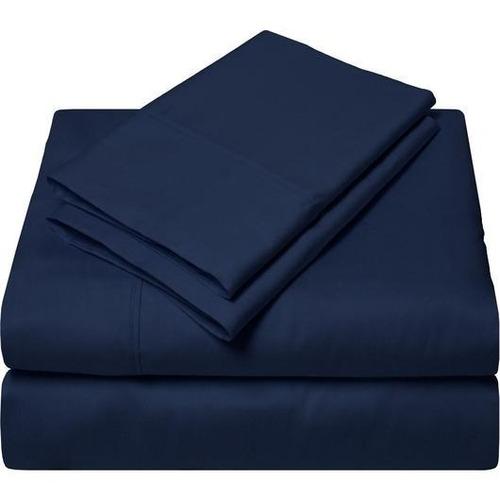 juego sábanas azul oscuro liso microfibra doble
