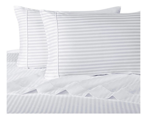 juego sábanas blanco líneas 300 h doble colección de lujo