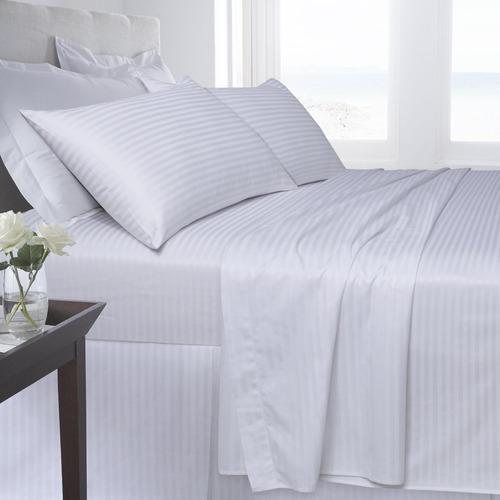 juego sábanas blanco líneas hotel 300 h queen