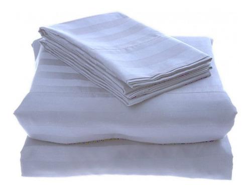 juego sábanas blanco líneas microfibra semidoble