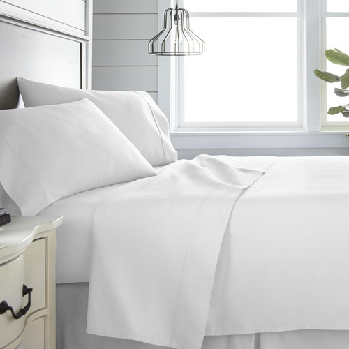 juego sábanas blanco liso microfibra doble