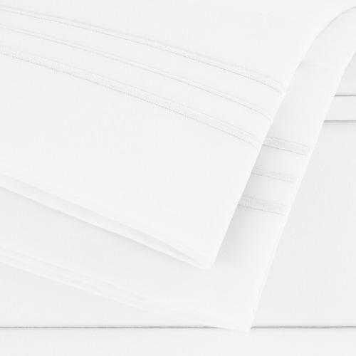 juego sabanas matrimoniales - begônia - blancas lisas con bordado y de microfibra