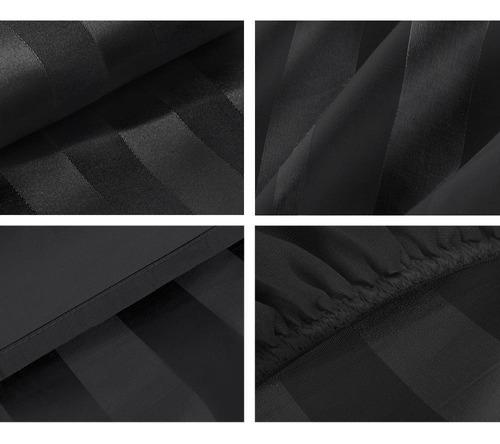 juego sábanas negro líneas microfibra doble