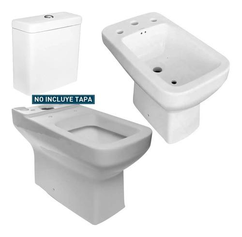 juego sanitarios loza baño cuadrado moderno tioso