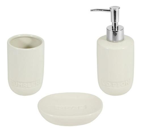 juego set accesorios baño dispenser jabonera cepillo beige