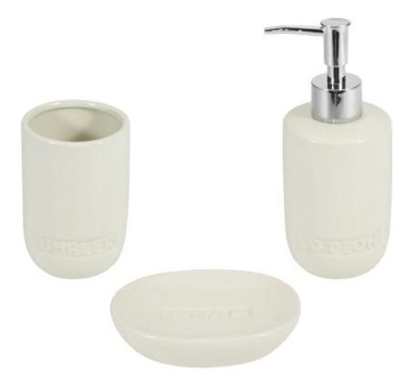 juego set accesorios baño dispenser jabonera cepillo colores