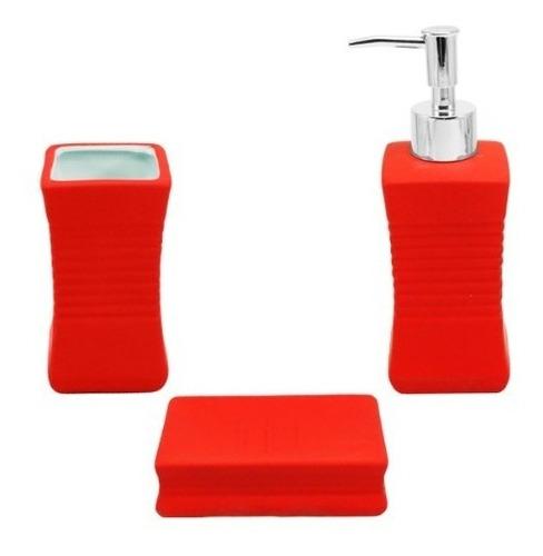 juego set accesorios baño dispenser jabonera cepillo rojo
