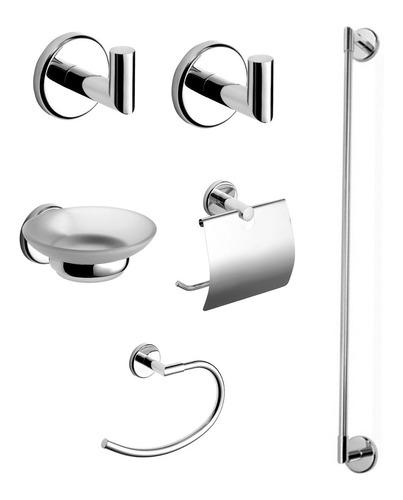 juego set combo de accesorios piazza dot baño completo 6 piezas íntegramente metálico y vidriado ahora 12 y 18