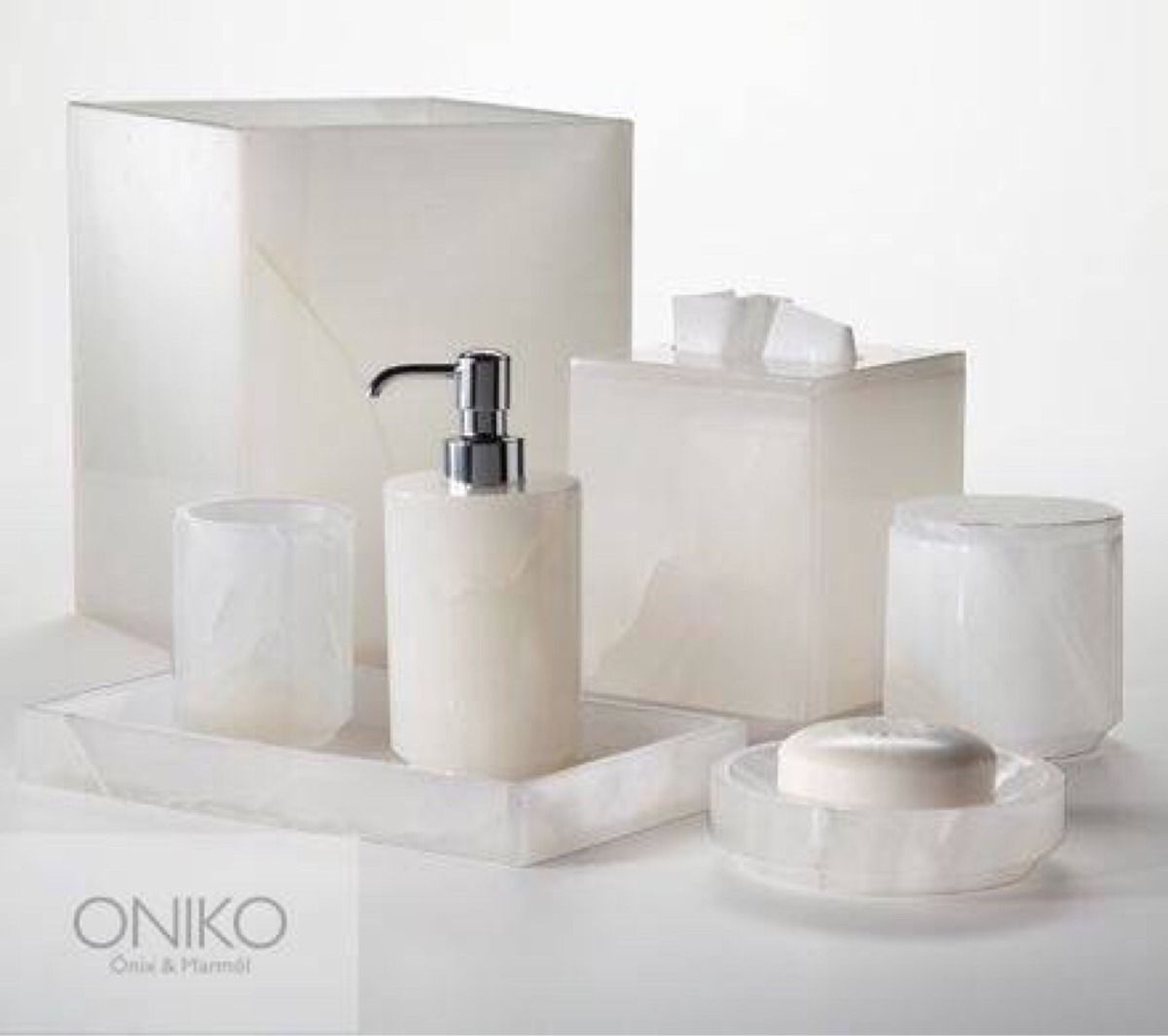 Juego set de accesorios para ba o onix blanco o m rmol for Conjunto de accesorios para bano