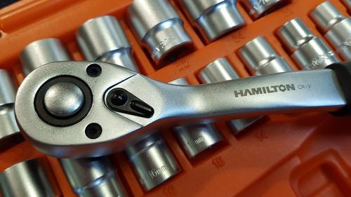 juego set tubos bocallave mm encastre 1/2 hamilton 32 piezas