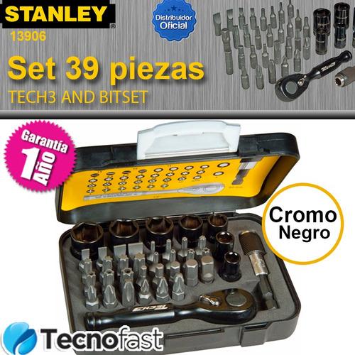 juego set tubos crique puntas stanley tech3 39 pzas ht13906