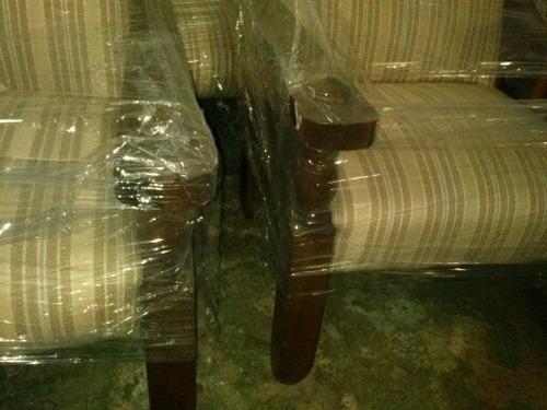 juego sillones de madera tapizados