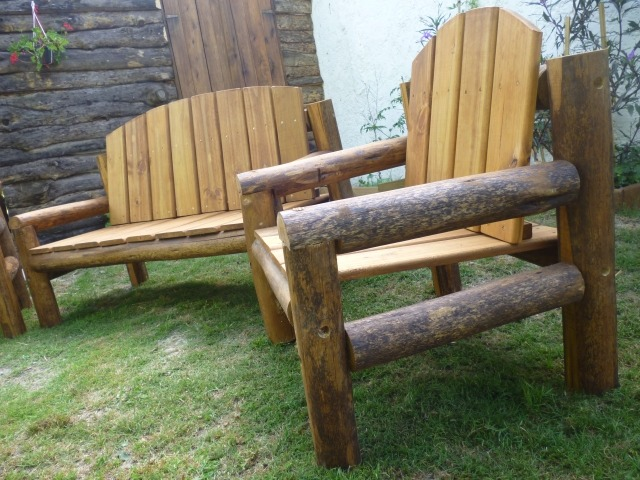 Juego sillones madera tratada piscinas patios jard n deck for Sillones de jardin