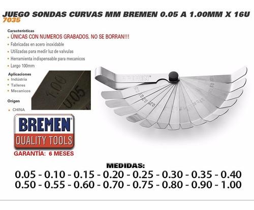 juego sondas galgas curvas bremen milimetro grabadas 16 pz 0.05 a 1.00 cod. 7035 dgm
