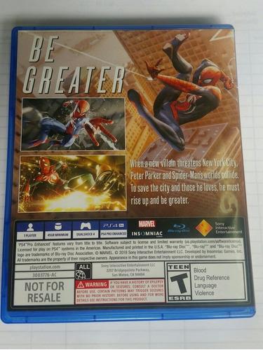 juego spiderman ps4 original casi nuevo