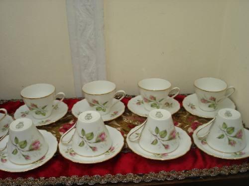 Juego tazas cafe porcelana alemana antiguas con rosas for Juego tazas cafe