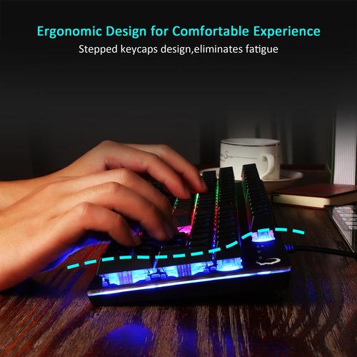 juego teclado diseño ergonómico cableado mecanismo mecáni...