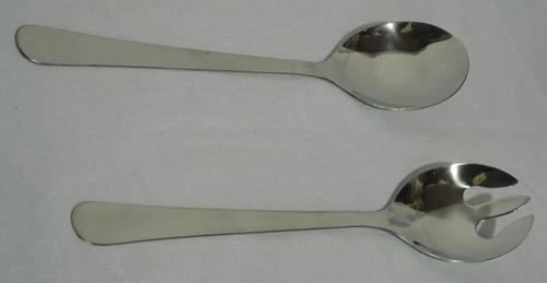juego tenedor y cuchara acero inoxidable para ensalada 28 cm