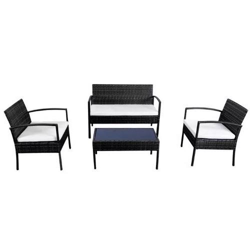 juego terraza ratan aleli pvc 4 piezas muebles metinca