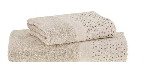 juego toalla y toallón espalma con broderie 100% algodón peinado 500 gramos