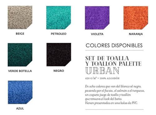 juego toalla y toallon palette 100% algodón 420 gramos color