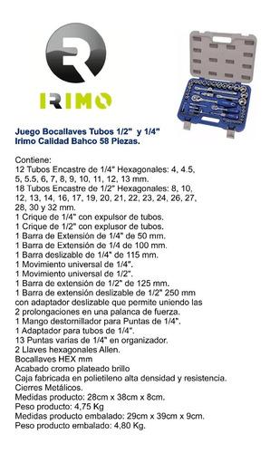 juego tubos irimo 58 pzas enc 1/2 y 1/4 hexagonal milmétrico