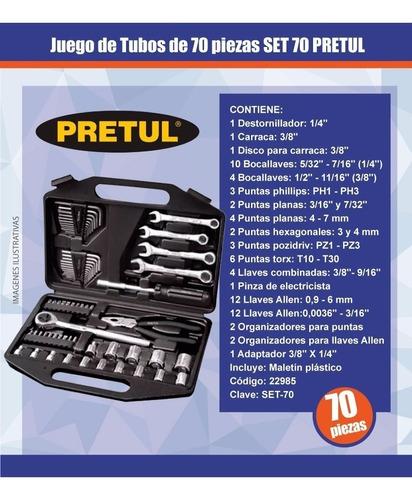 juego tubos set 70 herramientas pretul 70 piezas + maletín