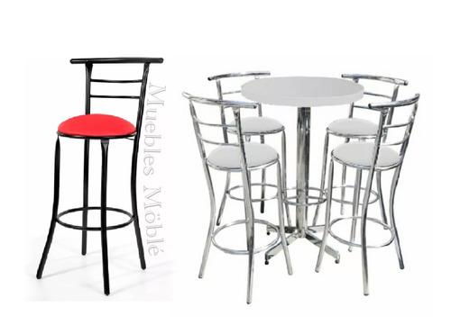 juego tubular mesa con 4 bancos para restaurante y comercio