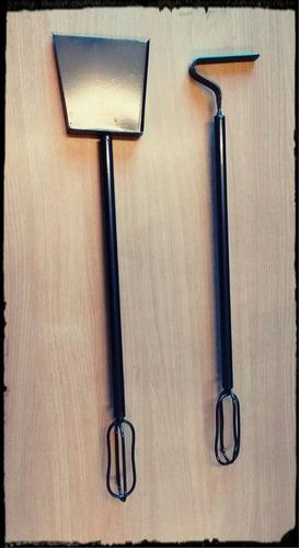 juego utensilios parrilla asado desamables pala y atizador