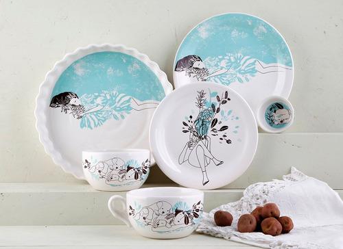juego vajilla platos bowl cazuela de diseño de cerámica | cl