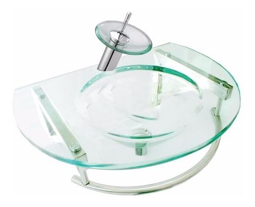 juego vanitory colgante vidrio cascada monocomando inodoro