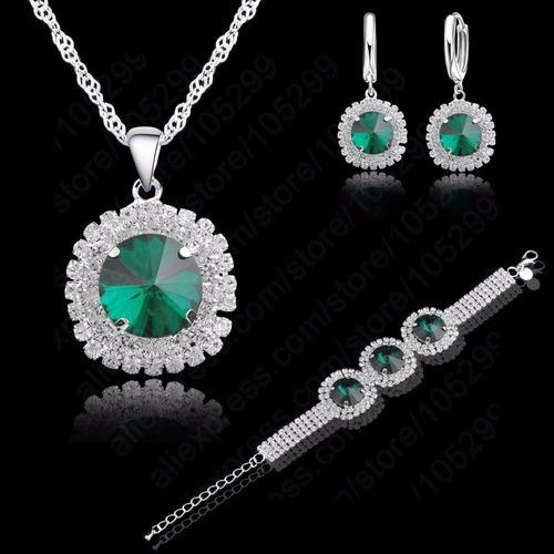 juego verde olivo en baño de plata collares mujer accesorios