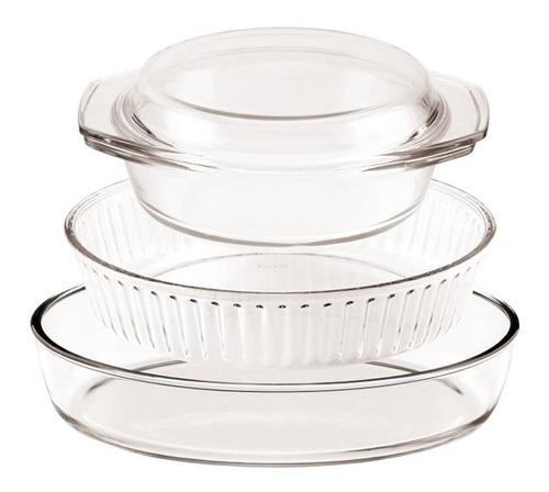 juego x 3 piezas asaderas fuentes vidrio horno oferta