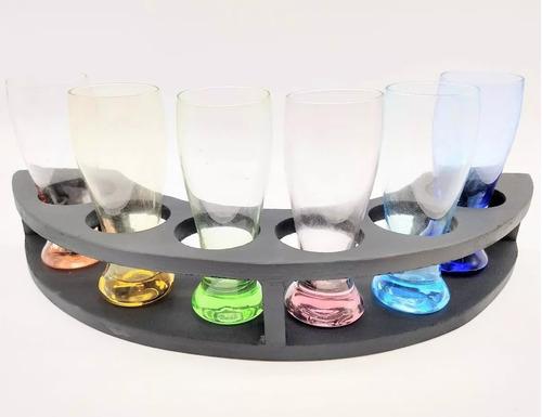 juego x6 shot vidrio colores c/ base madera original piu