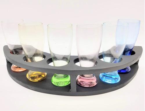 juego x6 shot vidrio colores c/ base madera serbazares