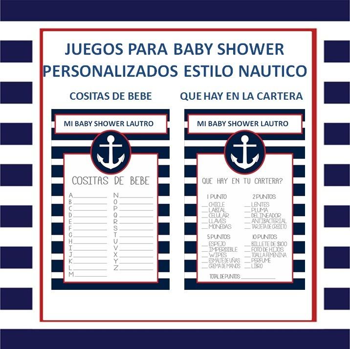 Juegos Para Baby Shower Imprimible Personalizado Nautico 90 00
