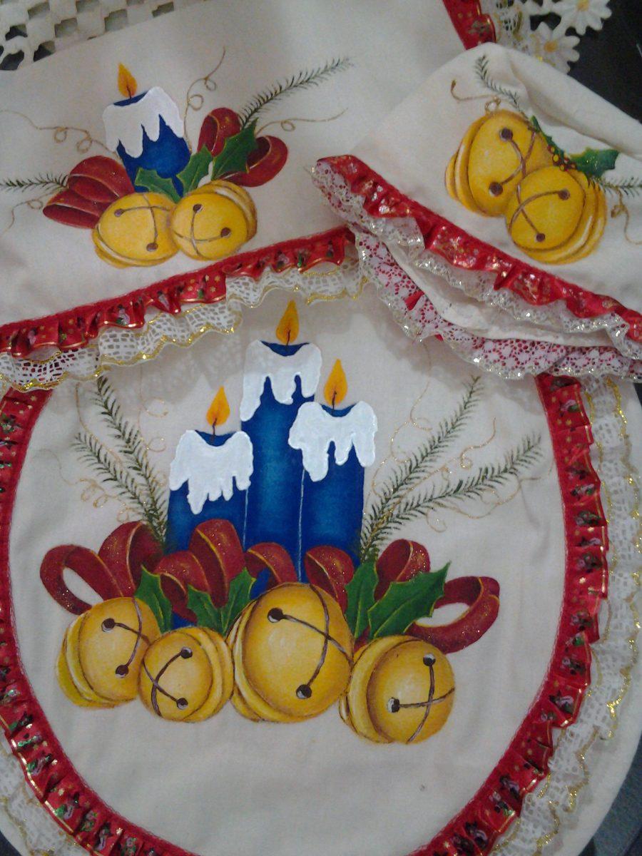 Juegos de ba o pintados a mano con motivos navide os - Pintura en tela motivos navidenos ...