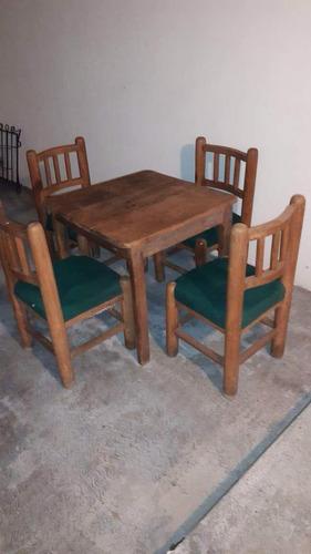 juegos de mesa con 4 sillas, madera de mezquite, forro tela