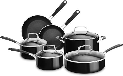 juegos de ollas kitchenaid 10 piezas negro