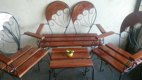 juegos de porche en hierro y madera. nuevos!!!