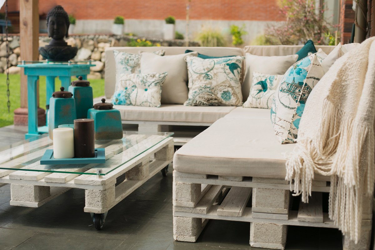 Juegos de terrza pallets en mercado libre - Cojines para sillones de terraza ...