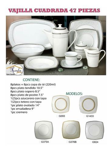 juegos de vajilla cadradas 47pz  porcelana china