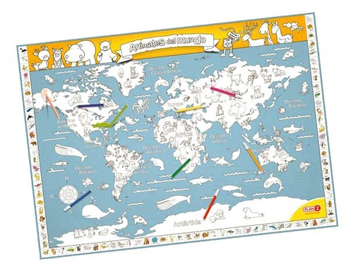 juegos didácticos mapa para colorear animales del mundo