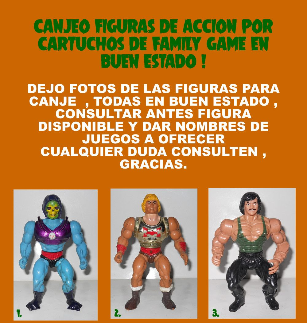 Canjeo Figuras De Accion Por Juegos Cartuchos De Family Game 10