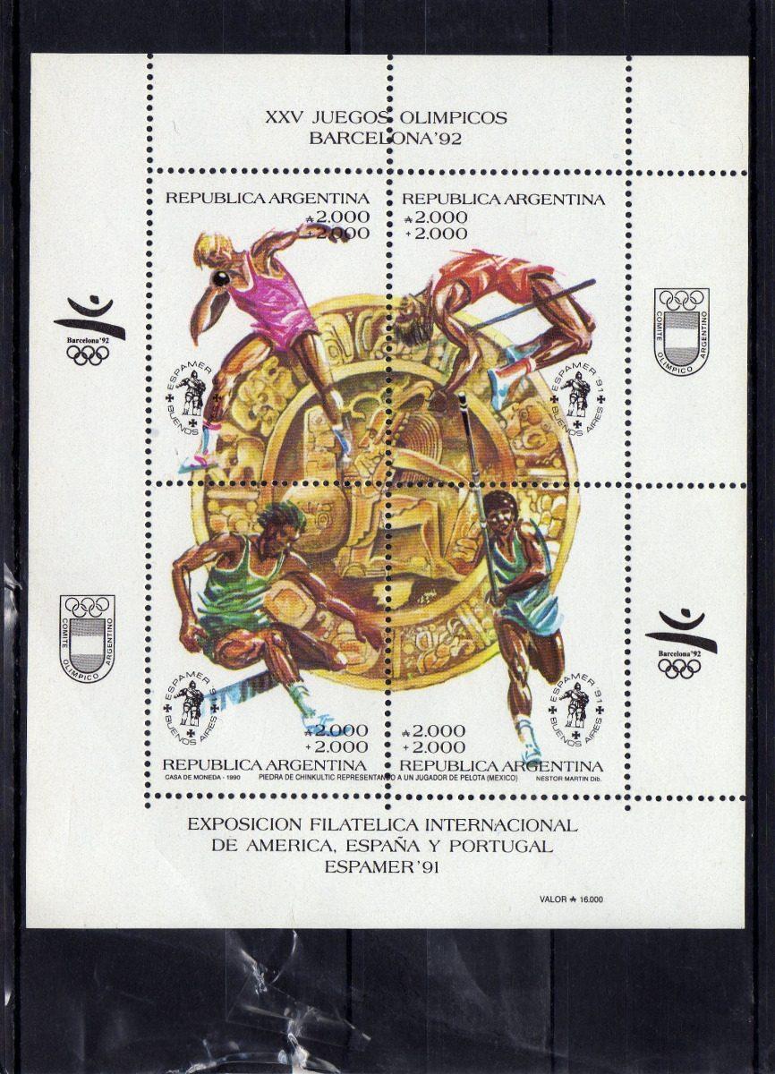 Juegos Olimpicos Barcelona 92 Block Mint 75 00 En Mercado Libre