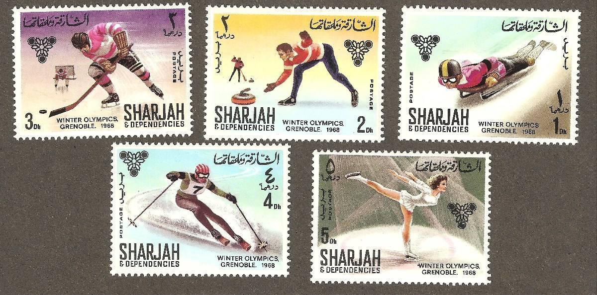 Juegos Olimpicos Invierno Grenoble 1968 Emitidas Por Sharjah