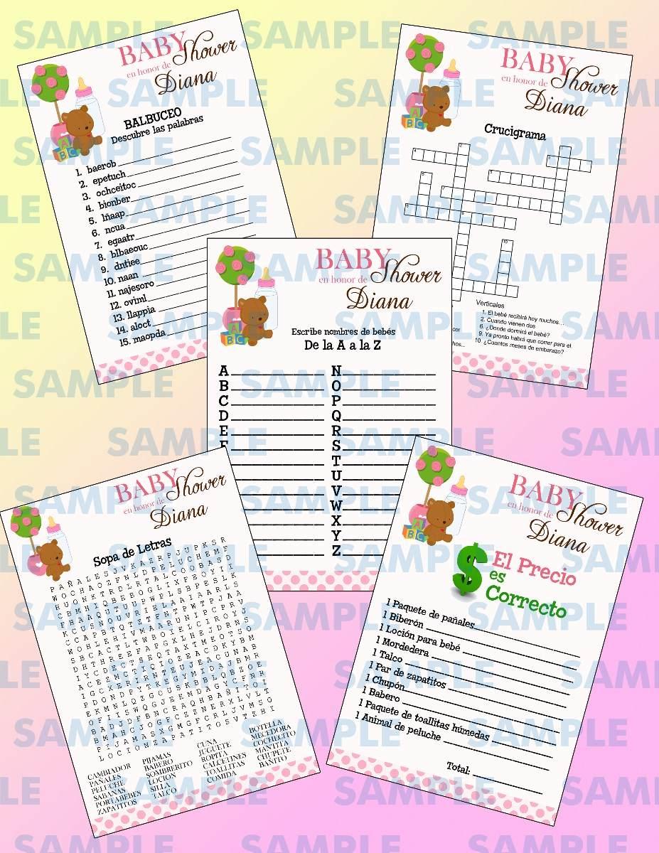 Juegos Para Baby Shower Baby Shower Balbuceo Crucigrama 100 00