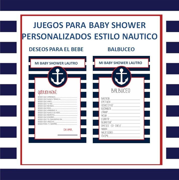 Juegos Para Baby Shower Imprimible Personalizado Nautico