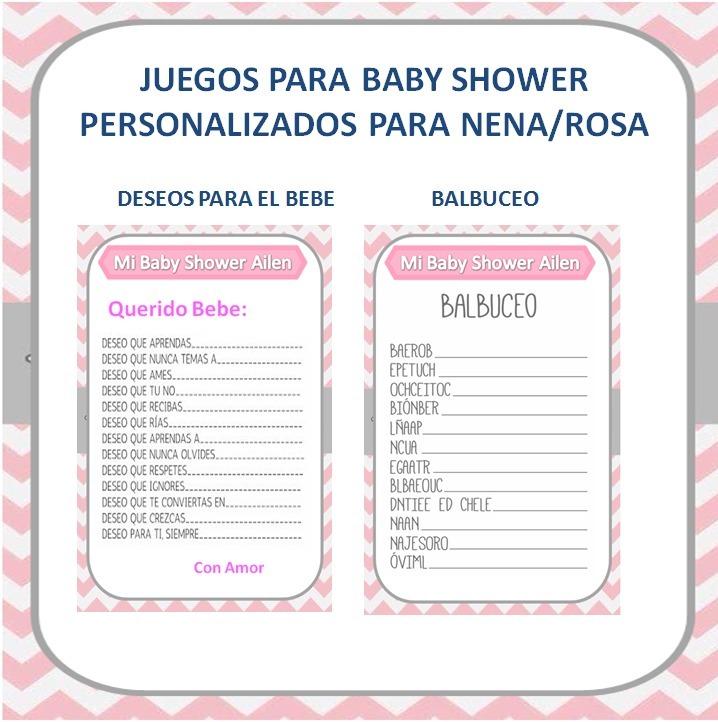 Juegos Para Baby Shower Imprimible Personalizado Nena Rosa