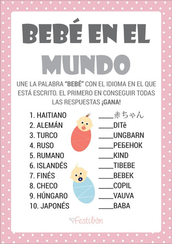 Juegos Para Baby Shower Imprimibles Nino Nina 10 00 En Mercado Libre